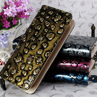 Women's Leather Wristlet Card Holder Wallet Skull Designer Clutch Purse