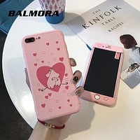 BALMORA 360 Full Cover Phone Case For iPhone 7 8 plus Pink Love heart Ultra Thin Protective Cases for iPhone 6 6s plus with Film