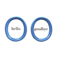 typography wall art, upcycled frames, picture frame set, word art, hello, goodbye, upcycled frame, wall decor, blue