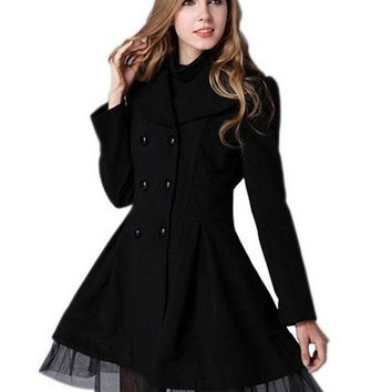 Women's Slim Peacoat Long Dress Double Breasted Trench Coat = 1956770372