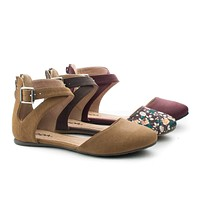 Kiner By Soda, Flat Round Toe D'Orsay Open Shank Flats w/ X Cross Ankle Straps