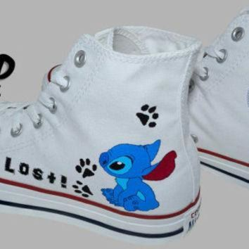 CREYONB Hand Painted Converse Hi. Stitch, From Lilo and Stitch cartoon. I'm Lost. Handpainted