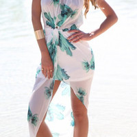 White Floral Chiffon Maxi Dress