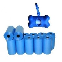 220 Pet Waste Bags, Dog Waste Bags, Bulk Poop Bags on a roll, Clean up poop bag refills - (Color: Blue) + FREE Bone Dispenser, by Downtown Pet Supply