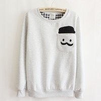 Grey Thickened Cashmere Doll Head Long Sleeve Sweater