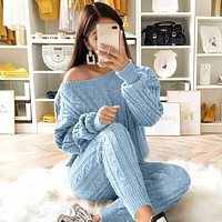 Long Sleeve 2 Piece Knitted Sweater Set