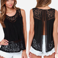 Black Lace Crochet Top