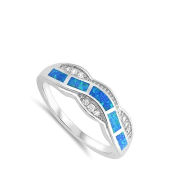 Blue Lab Opal Fire Water Wave Ring Design