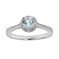 Sterling Silver Aquamarine & Diamond Accent Frame Ring (Blue)