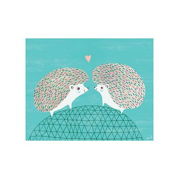 Hedgehogs in Love Poster Decal