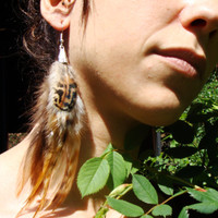 Striped Natural Feather Earrings rooster barred plymouth tribal bohemian hippie earthy