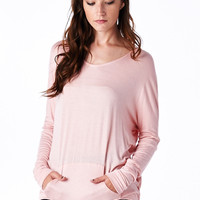 Pink Pullover Dolman Hoodie With Pockets