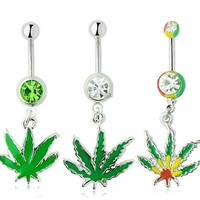 Sexy Rhinestone Ball Green Leaf Stainless Steel Belly Button Rings