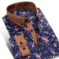 Men's Floral Print Cotton Dress Shirt Comfort Soft Slim-fit Long Sleeve Contrast Color Button-Down Shirt