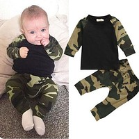 Camouflage Newborn Baby Boys Clothes T-shirt Tops + Pants 2pcs Outfit