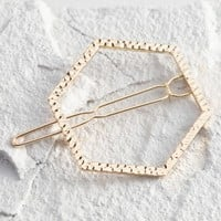 Gold Open Hexagon Hair Clip
