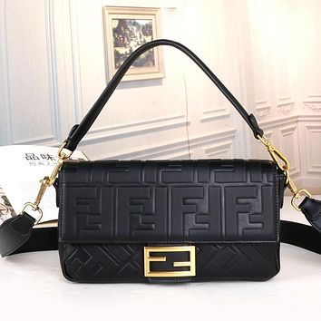 Fendi Women Leather Zipper Shopping Crossbody Shoulder Bag Satchel