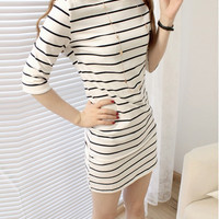 Women Striped Half Sleeve Over Hip Slim One-piece Dress