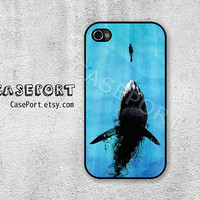 Watch Out For Sharks iPhone 4 Case, iPhone 4s Case, iPhone 4 Cover, iPhone 4s Cover, iPhone Hard Case