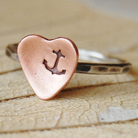 Anchor or Customizable Stacking Ring  Rustic by lovestrucksoul