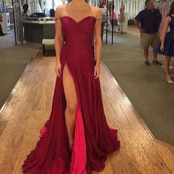 Sweetheart Straps Red Long Prom Dresses