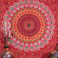 Handicrunch Reddish kaleidoscopic wall hanging - Block print floral Indian Tapestry