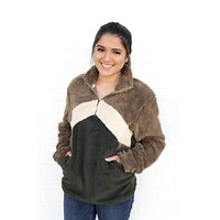 Olive + Taupe Colorblock Sweater