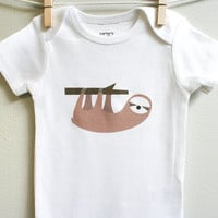 Baby clothes, baby boy or baby girl Onesuit, sloth, cute and adorable. Short or long sleeve. Your choice of size.
