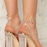 Clear the Air Lucite Heel - Rose Gold