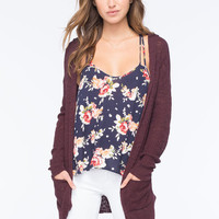 Full Tilt Essential Womens Hooded Cardigan Burgundy  In Sizes