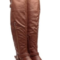 Chestnut Faux Leather Over the Knee Buckle Up Riding Boots