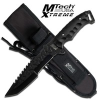 MTech USA Xtreme MX-8062BK Fixed Blade Tactical Knife, Black Tanto Blade, Black Nylon Fiber Handle, 12-Inch Overall
