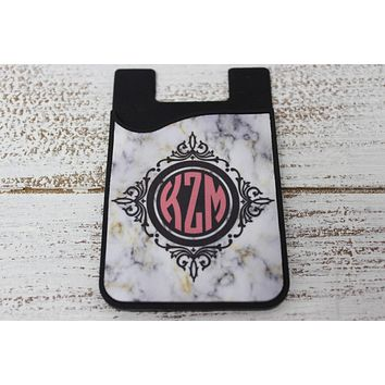 Personalized Cell Phone Caddy | Monogram Phone Wallet | Marble Monogram