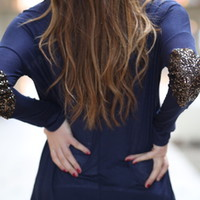 Navy Sequins Elbow Patch
