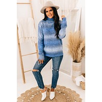 Feeling The Blues Turtle Neck Sweater (Blue Mix)