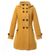 Double Button Hooded Long Sleeves Mid-length Wool Thick Coat