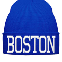 BOSTON EMBROIDERY HAT - Beanie Cuffed Knit Cap