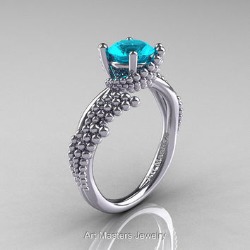 Nature Inspired 14K White Gold 1.0 Ct  Blue Zircon Sea Engagement Ring R399-14KWGBZ