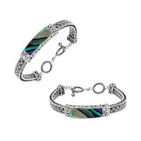 """AB-1148-AB-7.5"""" Sterling Silver Bracelet With Abalone Shell"""