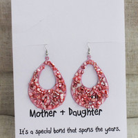 Mother and Daughter Love and Bond Gift Card Woman Drop Pink Stones Woman Earrings