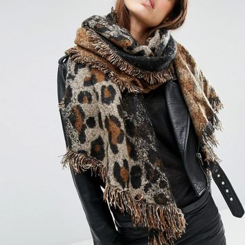 ASOS | ASOS Oversized Long Woven Scarf In Natural Leopard at ASOS