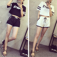 Fashion Casual Multicolo Stripe Letter Print Short Sleeve Set Two-Piece Sportswear