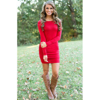 Red Long Sleeve Bodycon Mini Dress