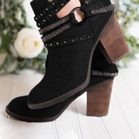 New Black Round Toe Chunky Chain Fashion Ankle Boots