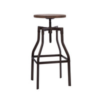"Design Lab Machinist Rustic + Wood Seat Adjustable Barstool 26""-32"""
