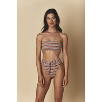 Donna Rib Ruffle Edge Beau Top x Paula-Tie Up Bottom Bikini Set