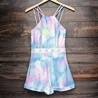 Final Sale - Tie Dye The Watercolor Romper in Blue/Multi