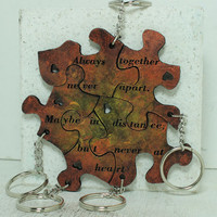 Friendship Set of 5 Best Friend Key chains Always together saying Bronze and Gold painted Leather Made To Order