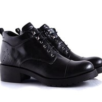 Vegan Shoes & Bags: Isobel Lace-Up Boot by Bourgeois Boheme in Black