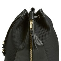 POVERTY FLATS by rian Neoprene Drawstring Backpack - Black